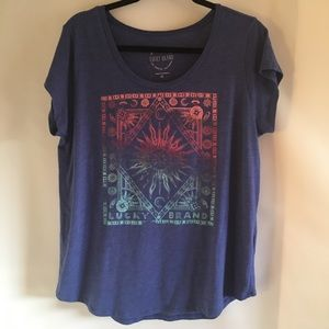 Lucky Brand Blue Boho Printed Shirt XL